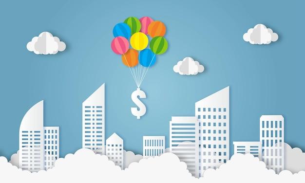 青空ビジネスと金融のコンセプトペーパーアートにドル記号でバルーンフライ
