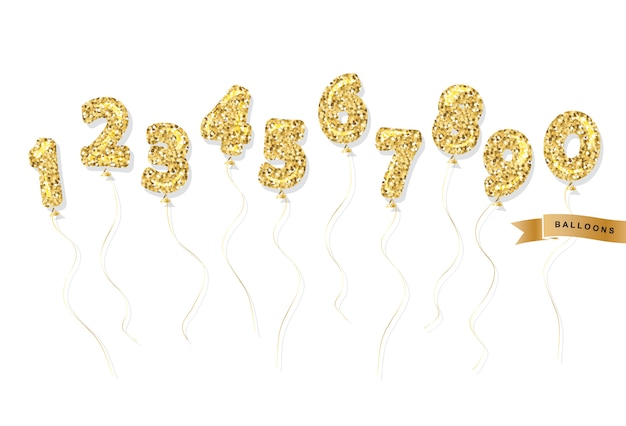 Balloon gold glitter numbers set.