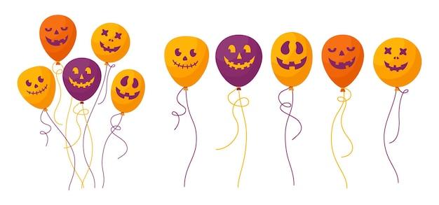 Balloon halloween cartoon set spooky scary funny faces happy halloween holiday surprise