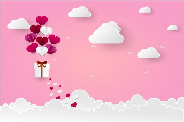 バレンタインデーのための愛のバルーン心臓の形