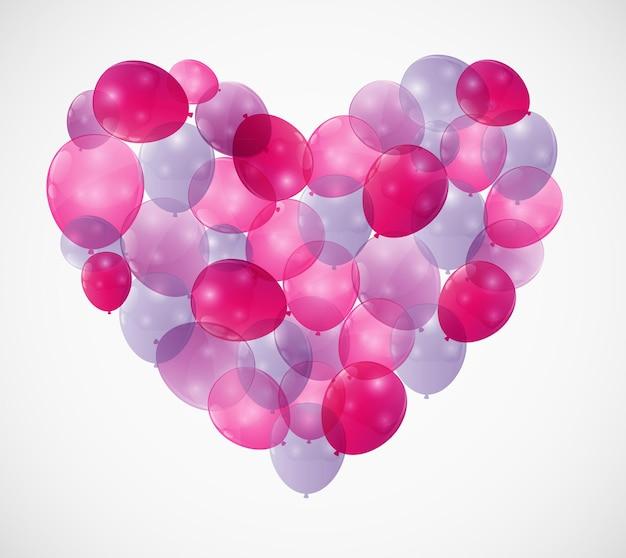 Воздушный шар сердца векторные иллюстрации фона
