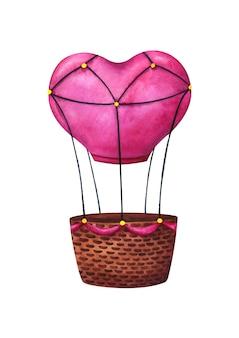 ピンクのハートの形をした風船。恋人たちの飛行機のロマンチックな輸送