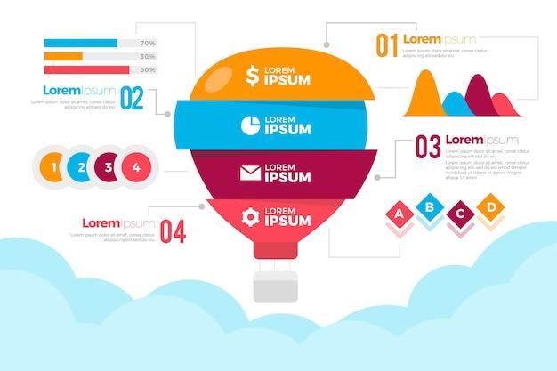 Воздушный шар инфографики концепция