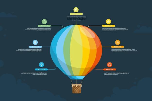 Воздушный шар инфографики шаблон