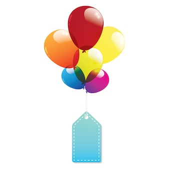 Balloon label tags colorful