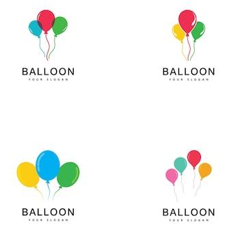 バルーンのロゴデザイン。幸福のロゴタイプの概念。お祝いの気球のシンボル。
