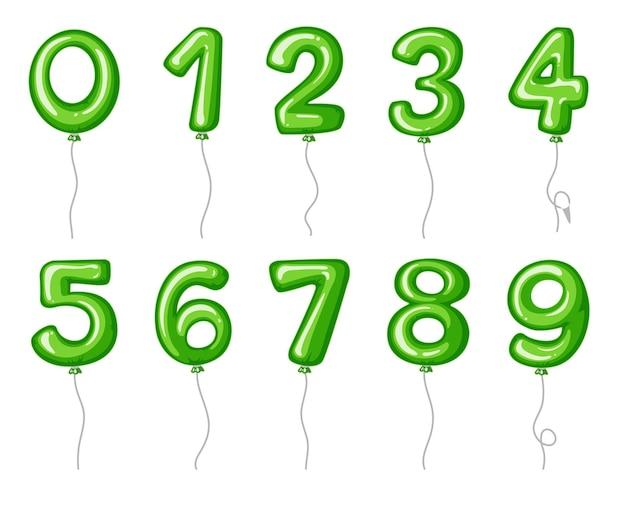 Numeri del palloncino da zero a nove in colore verde