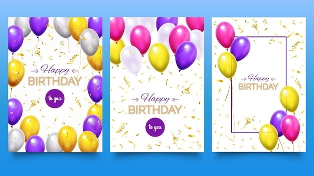 Balloon poster for birthday party. colorful helium balloons with falling golden glitter confetti and ribbons. holiday design for greeting card set. festive celebration vector illustration