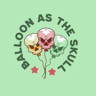 Balloon skull illustration retro style for t-shirt