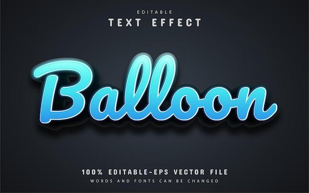 Balloon text, editable blue 3d text effect Premium Vector