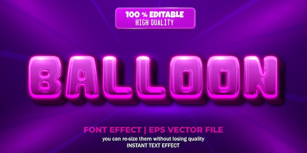 Balloon text effect editable text style