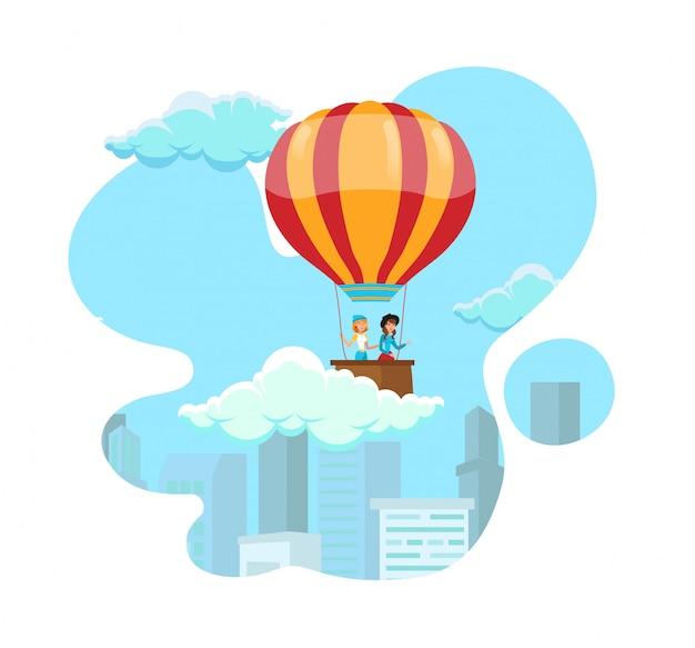 Balloon travel, air tourism vector illustration