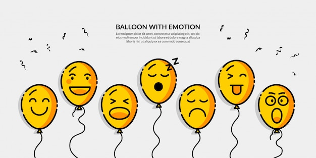 Balloon with different emotion banner