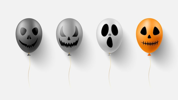 Balloon with face silhouette for halloween design concept.