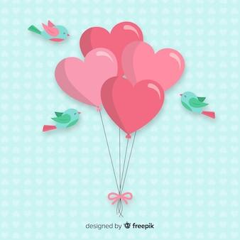 Фон из воздушных шаров и птиц