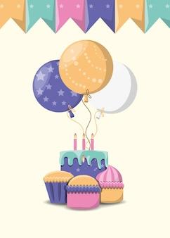 風船、誕生日ケーキ、カップ、白、背景