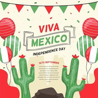 風船とサボテンメキシコの国際デー