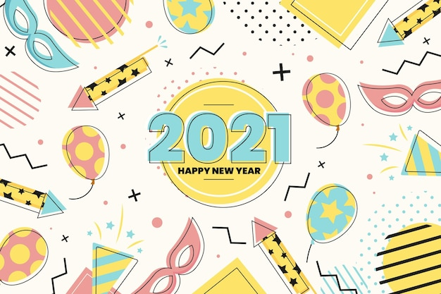 風船とパーティーアクセサリーフラットデザイン明けましておめでとうございます2021