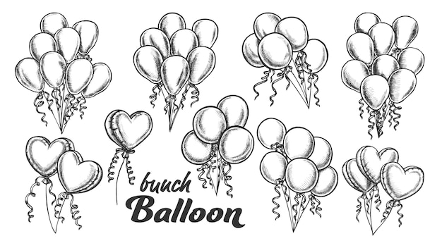 Balloons bunch with curly ribbon retro set
