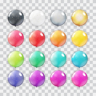 Balloons collection set on transparent background