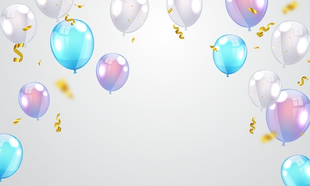 Balloons colorful celebration frame background with confetti.