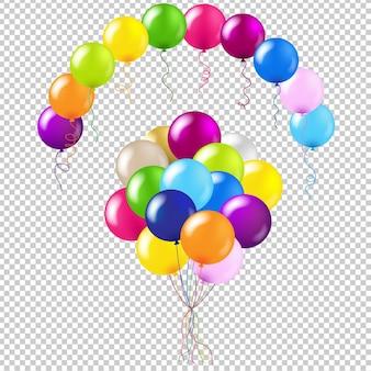 Balloons colorful set gradient mesh illustration