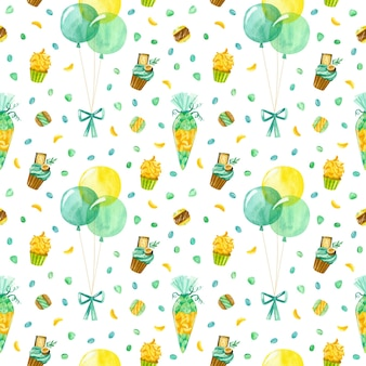 Balloons confetti cupcake and macaroons watercolor seamless pattern birthday background