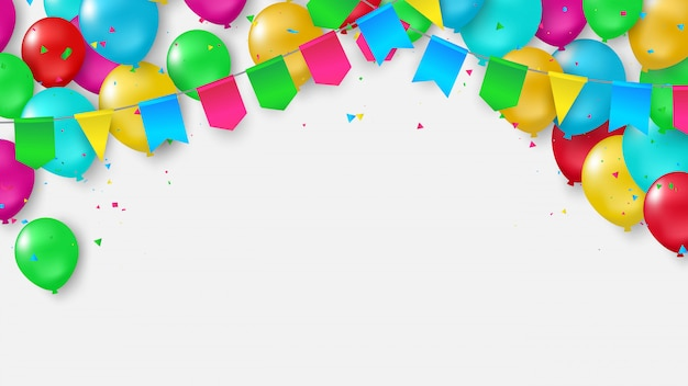 Balloons flag confetti colorful ribbons frame.