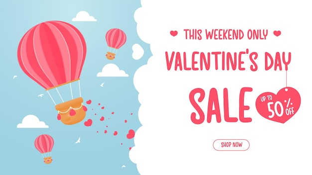 風船が空に浮かび、赤い愛の心をまき散らします。バレンタインデーの特別割引オファーのアイデア