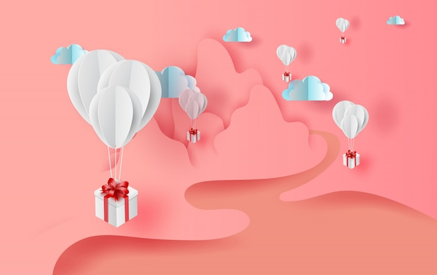 Balloons gift floating with nature landscape view