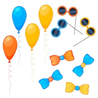 Balloons, glasses and bows collection set