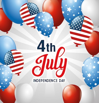 Balloons , happy independence day and usa theme  illustration