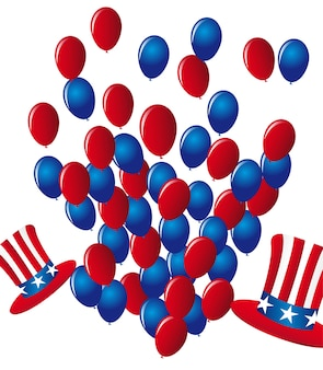 Balloons and hats independence day vector illustration