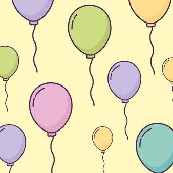 Balloons helium floating pattern vector illustration design
