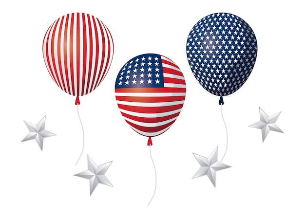 Balloons helium of united state american flag with stars decoration
