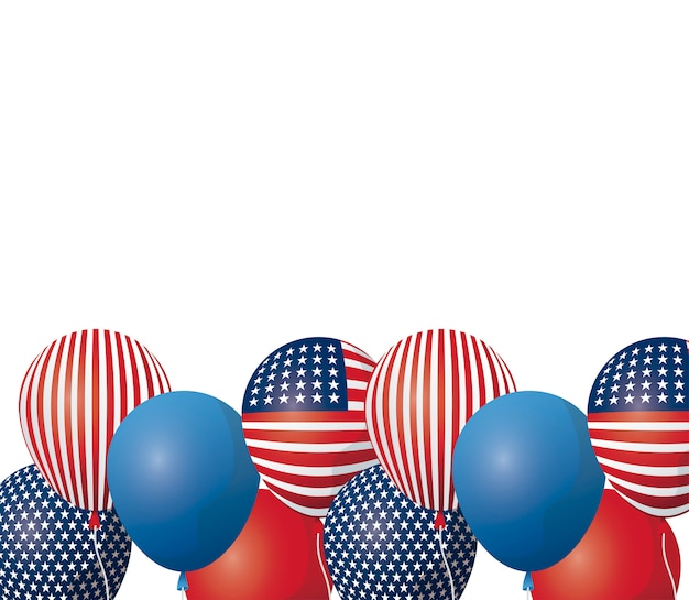Balloons helium of united state of american flag