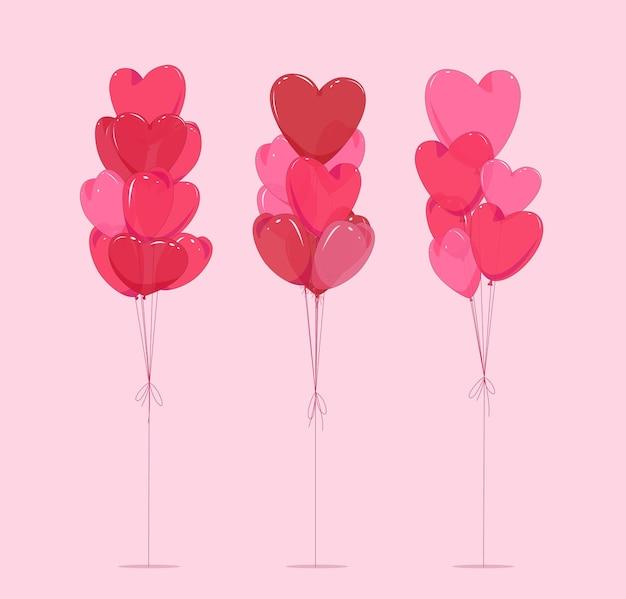 Воздушные шары в форме сердца. изолированный фон