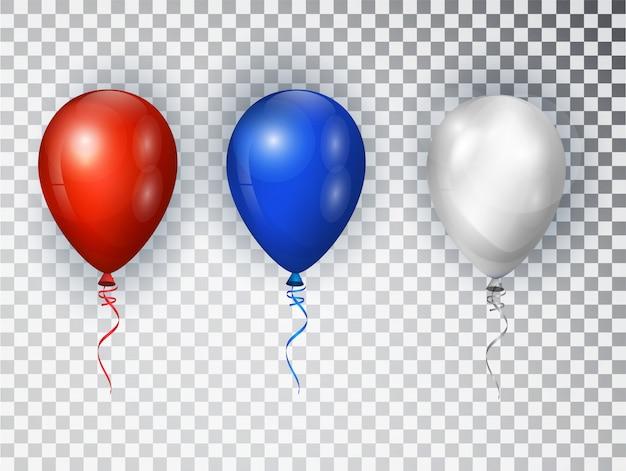 透明な背景に分離されたアメリカの国旗の国旗の色の風船。アメリカ挨拶デザイン要素。国民の休日の背景や誕生日パーティーの要素
