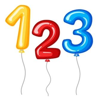Palloncini per i numeri da uno a tre