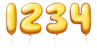 Balloons numbers - one, two, three, four