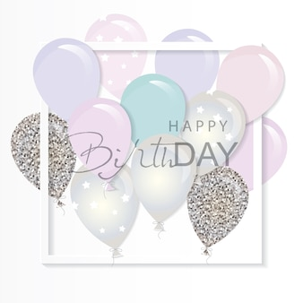 Balloons in paper cut out frame.