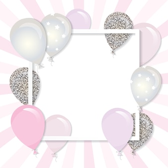 Balloons in paper cut out square frame.
