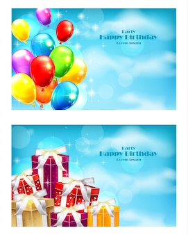 Balloons party invitation card