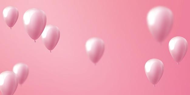 풍선 핑크 축하 배너