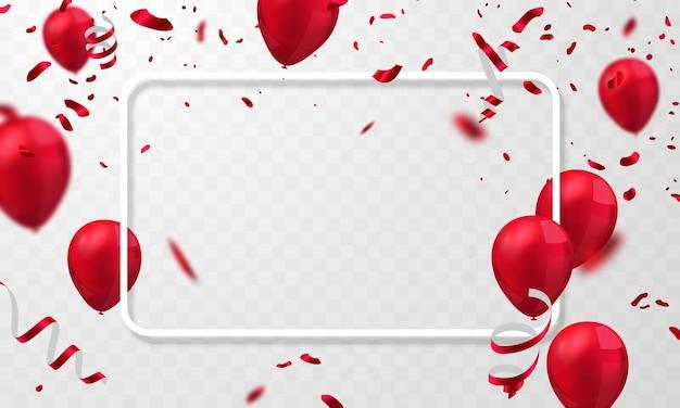 빨간 풍선 축하 프레임 배경