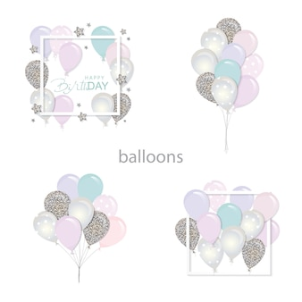 Balloons set with glitter.