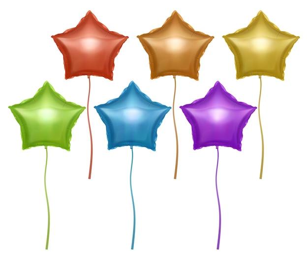 별 모양으로 설정된 풍선 발렌타인 데이 또는 결혼식을위한 밝은 다채로운 풍선 축제 장식 요소