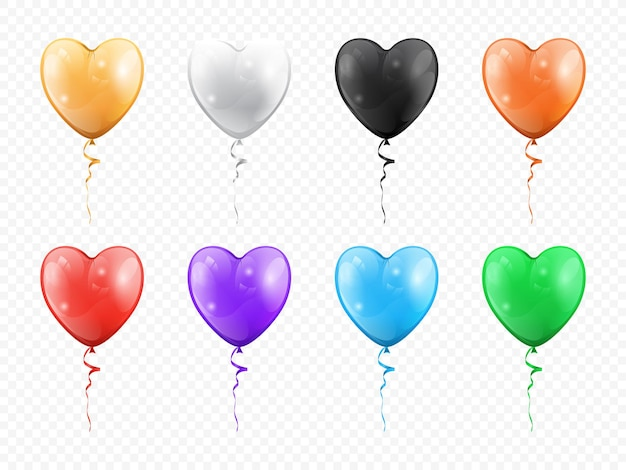 Balloons in shape of heart isolated set vector golden black white red purple green blue heartshape