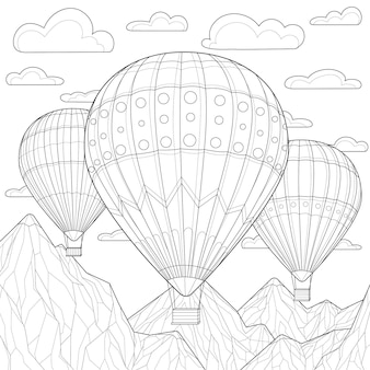 雲と山の間で風船が舞い上がります。子供と大人のための塗り絵の抗ストレス。禅もつれスタイル。白黒の描画