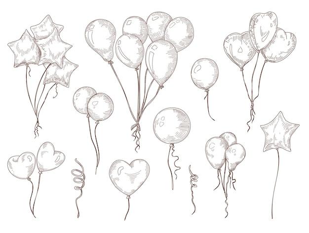 Balloons on string hand drawn illustrations set